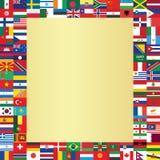 El fondo con el mundo señala el marco por medio de una bandera Imagenes de archivo