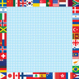 El fondo con el mundo señala el marco por medio de una bandera Fotografía de archivo libre de regalías