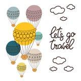 El fondo con el globo y las letras dibujadas mano dejó el ` s ir viaje, para la tarjeta, cartel, decoración Fotografía de archivo libre de regalías
