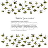 El fondo con las abejas dibujadas mano de las historietas, lorem ipsum almacena el ejemplo del vector Fotos de archivo