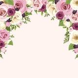 El fondo con las rosas rosadas y blancas y lisianthus florece Ilustración del vector Fotos de archivo