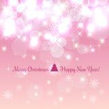 El fondo con los copos de nieve, luz de la Navidad brillante y del Año Nuevo, protagoniza Ilustración del vector Navidad libre illustration
