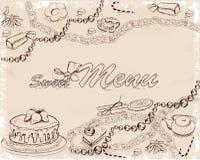 El fondo con los dulces y las tortas para el menú diseñan Fotos de archivo