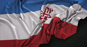 El fondo 3D de Mari El Flag Wrinkled On Dark rinde Imagenes de archivo