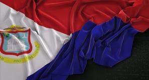 El fondo 3D de Martin Flag Wrinkled On Dark del santo rinde stock de ilustración