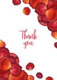El fondo de la acuarela de los pétalos color de rosa de la flor con el mundo le agradece Fotos de archivo