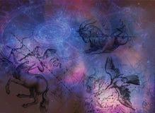 El fondo de la astrología protagoniza las constelaciones Foto de archivo
