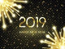 El fondo 2019 de la Feliz Año Nuevo con el texto de oro brillante, números brilla, los fuegos artificiales, las chispas y las est libre illustration