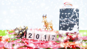 El fondo de la Feliz Navidad y numera 2017 t Fotografía de archivo libre de regalías