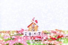 El fondo de la Feliz Navidad y numera 2017 t Fotos de archivo
