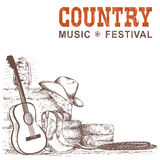 El fondo de la música country con la guitarra y el vaquero americano calza a ilustración del vector