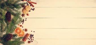 El fondo de la Navidad con el piel-árbol ramifica, los conos, naranja secada Fotos de archivo libres de regalías