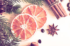 El fondo de la Navidad con el piel-árbol ramifica, los conos, naranja secada Fotografía de archivo libre de regalías