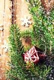 El fondo de la Navidad con la caja y el abeto rojos de regalo ramifica con fal Imágenes de archivo libres de regalías