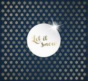 El fondo de la Navidad con los copos de nieve y lo dejó nevar etiqueta Fotos de archivo libres de regalías