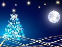 El fondo de la Navidad, copos de nieve de Bokeh, fondo azul, bola roja, árbol de navidad backgrounred Imagen de archivo libre de regalías