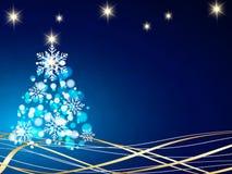 El fondo de la Navidad, copos de nieve de Bokeh, fondo azul, bola roja, árbol de navidad backgrounred Imágenes de archivo libres de regalías