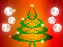 El fondo de la Navidad, copos de nieve de Bokeh, fondo rojo, bola roja, árbol de navidad backgrounred Imagenes de archivo