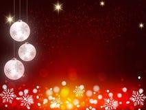 El fondo de la Navidad, copos de nieve de Bokeh, fondo rojo, bola roja, árbol de navidad backgrounred Imágenes de archivo libres de regalías