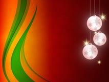 El fondo de la Navidad, copos de nieve de Bokeh, fondo rojo, bola roja, árbol de navidad backgrounred Imagen de archivo libre de regalías