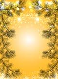 El fondo de la Navidad del oro con nieve y el pino negro ramifica, fondo chispeante del vector del día de fiesta Foto de archivo