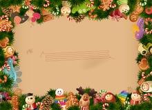El fondo de la Navidad juega el marco y el papel viejo Foto de archivo libre de regalías