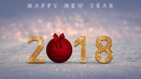 El fondo de la Navidad, tarjeta, ejemplo con de oro, brilla 2018 números, chuchería roja de la Navidad, bola Foto de archivo