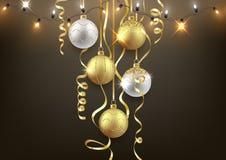 El fondo de la Navidad y del Año Nuevo diseña, las bolas decorativas ilustración del vector