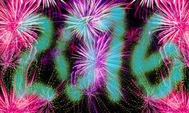 El fondo de la Noche Vieja - 2016 fuegos artificiales Foto de archivo