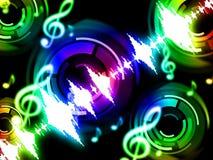 El fondo de la onda acústica muestra Musicalization o el equalizador audio Fotos de archivo