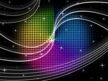 El fondo de la rueda de color muestra el cielo nocturno y remolina Imagenes de archivo