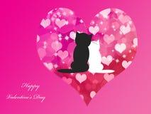 El fondo de la tarjeta del día de San Valentín con los gatos Imagenes de archivo