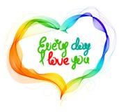 El fondo de la tarjeta del día de San Valentín hermosa con el corazón del color y t abstractos Fotografía de archivo