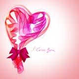 El fondo de la tarjeta del día de San Valentín hermosa con rosado abstracto y el rojo oyen Fotos de archivo libres de regalías