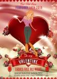 El fondo de la tarjeta del día de San Valentín con la silueta de la muchacha ilustración del vector