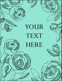 El fondo de la turquesa con las rosas negras da exhausto en un estilo gráfico Fotografía de archivo