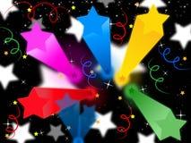 El fondo de las flámulas de las estrellas significa a Celestial Colors And Party Foto de archivo libre de regalías