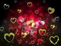 El fondo de los corazones muestra adorar romántico y encariñado ilustración del vector
