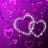 El fondo de los corazones púrpuras muestra encariñado romántico y brillar ilustración del vector