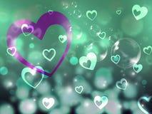 El fondo de los corazones significa el socio romántico y el afecto stock de ilustración