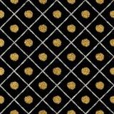 El fondo de plata de oro inconsútil abstracto alinea, los puntos, jaula Imagen de archivo libre de regalías