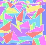 El fondo de 80 ` s con las pirámides de los colores en colores pastel, del arte 3D, triángulos y prismas Fotos de archivo libres de regalías