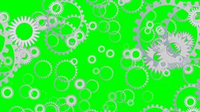 El fondo de Techno con el vuelo adapta, las ruedas dentadas que giran en la pantalla verde libre illustration