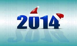 El fondo del Año Nuevo con la fecha 2014 y los casquillos en él, la reflexión y el resplandor Imagen de archivo libre de regalías