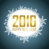 El fondo del Año Nuevo con una burbuja del discurso Texto del oro, copo de nieve Fotografía de archivo libre de regalías