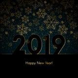 El fondo del Año Nuevo de la Navidad con los copos de nieve del oro manda un SMS al modelo azul del Año Nuevo de la Navidad del f ilustración del vector