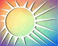 El fondo del arco iris con el dibujo del sol en triángulo modeló área Fotografía de archivo libre de regalías