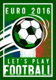 El fondo 2016 del campeonato del fútbol del euro con, la bola de la muestra y Francia señalan colores por medio de una bandera Te ilustración del vector