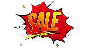 El fondo del chapoteo del arte pop de la venta, explosión en tebeos reserva estilo Letrero de la publicidad, reducción de precio, Foto de archivo libre de regalías