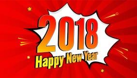 El fondo del chapoteo del arte pop del Año Nuevo, explosión en tebeos reserva estilo letrero de la publicidad de 2018 días de fie Imágenes de archivo libres de regalías